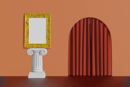 Vertical vintage mockup picture frame gold color stand on a column on a coral wall background. Abstract multicolored cartoon interior with arch. 3D rendering