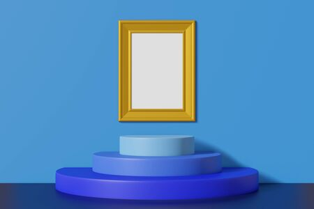 Vertical vintage mockup picture frame gold color hanging on a blue wall. Abstract multicolored cartoon interior with a podium. 3D rendering