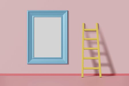 Vertical mock up picture frame blue color hanging on a pink wall near the staircase. Abstract multicolored kids cartoon concept. 3D rendering Reklamní fotografie