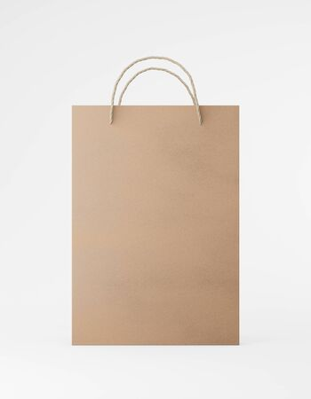 Eco packaging mockup bag kraft paper with handle front side. Standard medium brown template on white background promotional advertising. 3D rendering