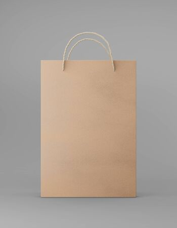 Eco packaging mockup bag kraft paper with handle front side. Standard medium brown template on gray background promotional advertising. 3D rendering