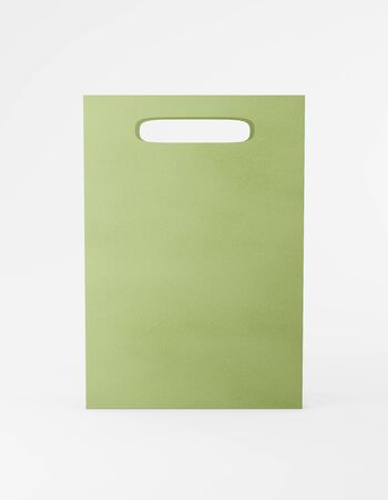 Eco packaging mockup bag kraft paper with handle front side. Standard medium green template on white background promotional advertising. 3D rendering