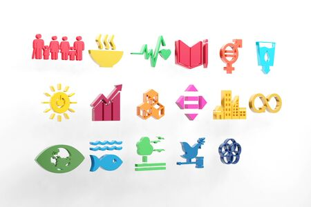 Sustainable Development Goals set seventeen colorful icon. 3D rendering