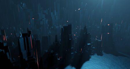 Sci-fi night landscape fantastic city light blue neon glow top view. Surrealistic concept of alien architecture apocalypse. 3D rendering