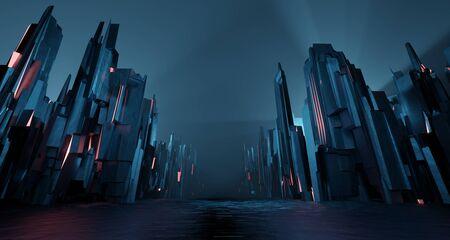 Sci-fi dark landscape metal block fantastic street house light by blue neon glow. Surreal alien city concept. 3D rendering Stock Photo