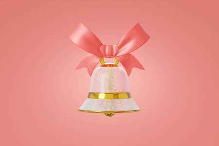 Christmas bell glass ice frosty texture decorated gold hanging ribbon. Graceful toy concept design red background. Elegant jewelry symbol new year. 3D rendering Stock Photo