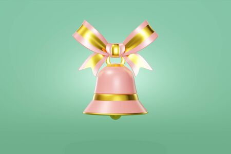Christmas bell pink color decorated gold hanging ribbon. Graceful toy concept design green background. Elegant symbol new year. 3D rendering
