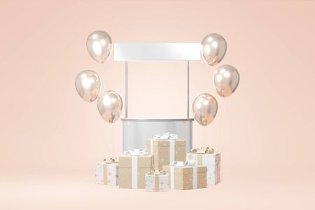 Festliches Stand-Werbevorrat weißes Geschenkboxmodell, Balloncremehintergrund. Verkauf von Werbegeschäften. Konzept schwarzer Freitag, Weihnachten, neues Jahr. 3D-Rendering