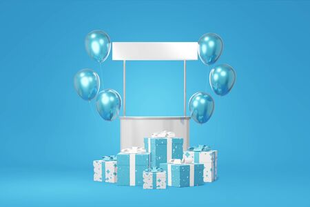 Festive booth promotion stock white gift box mockup, balloon blue background. Advertising store sale. Concept black friday, christmas, new year. 3D rendering