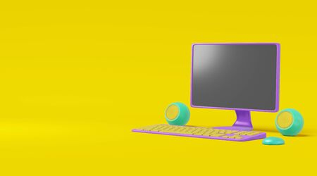 Computer cartoon style on a yellow background. Realistic concept toy monitor, speaker, keyboard purple green illustration. 3D rendering Stock Illustration - 134983250