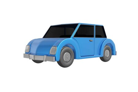 Passenger car cartoon style realistic design blue color. Kids toy isolated white background. Minimalistic transport retro concept. 3D rendering.