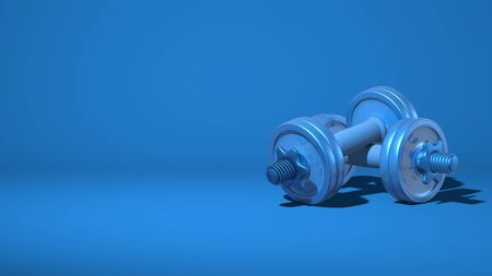 Two metal dumbbells. Equipment for sports, fitness. Stylish minimal abstract horizontal scene, place for text. Trendy classic blue color. 3D rendering Stock Photo