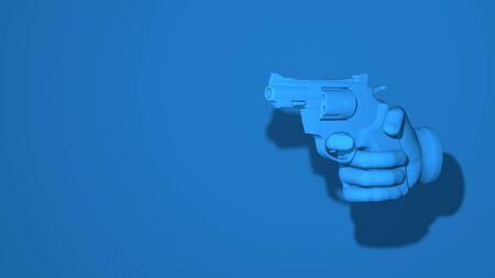 Hand holds revolver, gun. Illustration gesture threat, danger, arrest, robbery, warning. Stylish minimal abstract horizontal scene, place for text. Trendy classic blue color. 3D rendering