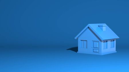 Simple little house, model. One-story village building. Stylish minimal abstract horizontal scene, place for text. Trendy classic blue color. 3D rendering