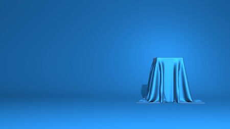 Abstract podium, pedestal. A tall cube is covered with shiny fabric. Stylish minimal abstract horizontal scene, place for text. Trendy classic blue color. 3D rendering