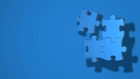 Three pieces of the puzzle are connected, one separately. Stylish minimal abstract horizontal scene, place for text. Trendy classic blue color. 3D rendering
