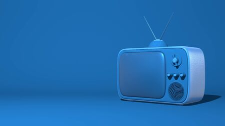 Retro tv with antenna. Illustration in cartoon style, toy. Stylish minimal abstract horizontal scene, place for text. Trendy classic blue color. 3D rendering