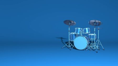 Musical drum kit. Modern pop rock minimal concept scene. Stylish minimal abstract horizontal scene, place for text. Trendy classic blue color. 3D rendering Stock Photo