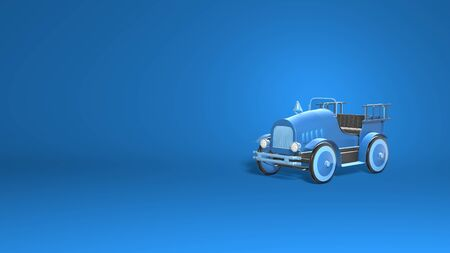 Vintage car convertible toy. Fireman truck cartoon style. Stylish minimal abstract horizontal scene, place for text. Trendy classic blue color. 3D rendering