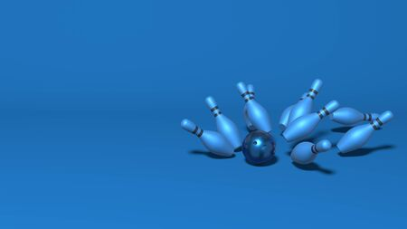 Bowling strike hit. Skittles fly from the ball. Stylish minimal abstract horizontal scene, place for text. Trendy classic blue color. 3D rendering