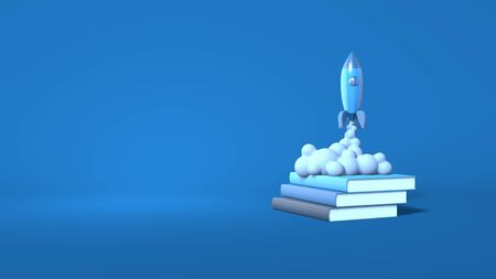 A cartoon style space rocket takes off from books. The concept of training, education, startup, business. Stylish minimal abstract horizontal scene, place for text. Trendy classic blue color. 3D rendering Stock Photo