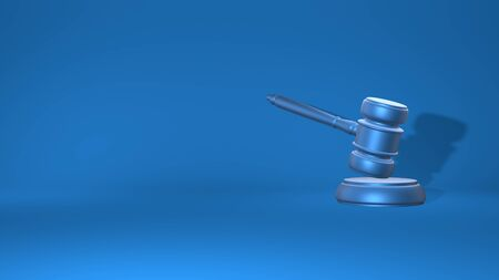 Gavel judge. Justice concept, law. Stylish minimal abstract horizontal scene, place for text. Trendy classic blue color. 3D rendering