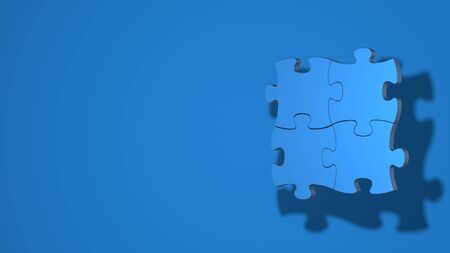 Four pieces of the puzzle are connected. Stylish minimal abstract horizontal scene, place for text. Trendy classic blue color. 3D rendering