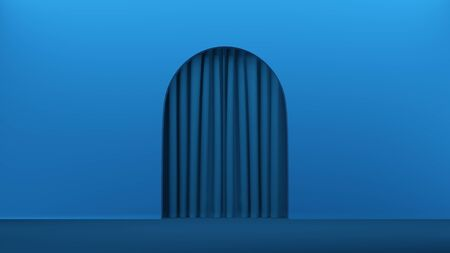 Abstract concept interior modern room with arch curtain minimal background. Stylish minimal abstract horizontal scene, place for text. Trendy classic blue color. 3D rendering