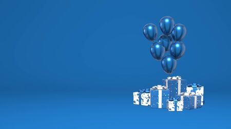 Shiny balloons and a bunch of gift boxes. Decoration holiday, presentation, promotion. Stylish minimal abstract scene. Trendy classic blue color. 3D rendering Stock Photo