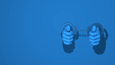 Handcuffed. Illustration gesture of arrest, criminal, robbery, violence. Stylish minimal abstract horizontal scene, place for text. Trendy classic blue color. 3D rendering Banco de Imagens
