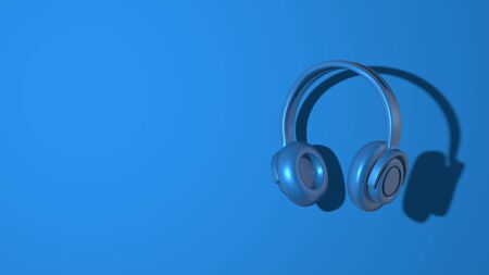 Stereo music headphones. Stylish minimal abstract horizontal scene, place for text. Trendy classic blue color. 3D rendering Stock Photo