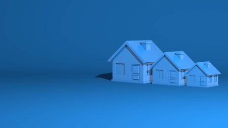 Three houses, large, medium, small. The model is a one-story village building. Stylish minimal abstract horizontal scene, place for text. Trendy classic blue color. 3D rendering Stock Photo