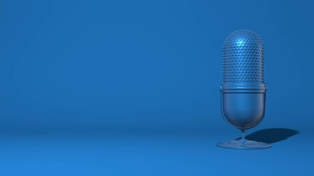 Modern microphone for a stream, video blogger. Stylish minimal abstract horizontal scene, place for text. Trendy classic blue color. 3D rendering