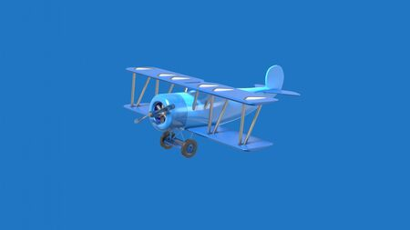Vintage airplane toy cartoon style. Stylish minimal abstract horizontal scene, place for text. Trendy classic blue color. 3D rendering