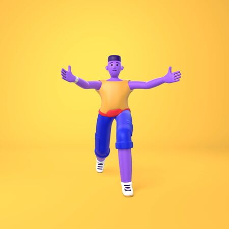 A young african guy informally greets holding out his hand. Trendy concept disproportionate body big legs and arms cartoon illustration. Fashionable bright color style. 3D rendering Stock Photo