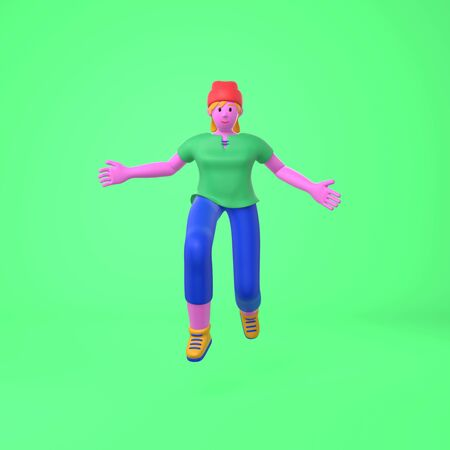 An informal greeting to a young hipster girl in a hat crouched down raising her hands. Trendy concept disproportionate body big legs and arms cartoon illustration. Fashionable bright color style. 3D rendering
