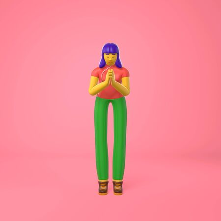 Young asian girl a traditional informal greeting. Trendy concept disproportionate body big legs and arms cartoon illustration. Fashionable bright color style. 3D rendering