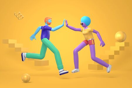 An informal greeting to a young hipster guy with a beard and an african girl with a haircut and a disproportionate body. Abstract bright background of flying geometric shapes in cartoon style. 3D rendering Stock Photo