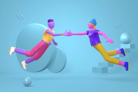 Informal greeting to a young african guy and hipster girl in a hat and a disproportionate body. Abstract bright background of flying geometric shapes in cartoon style. 3D rendering