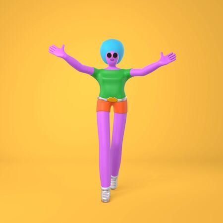 An informal greeting a young girl with an African hairstyle stands holding her hands up. Trendy concept disproportionate body big legs and arms cartoon illustration. 3D rendering Stock Photo