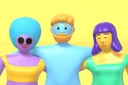 3D rendering cartoon characters guy hugs two girls in a swimsuit with blue, pink, purple skin on a yellow background. Minimal promenade concept. Bright multi-colored illustration. Stock Photo