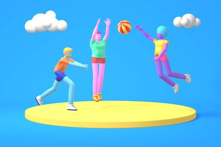 3D rendering cartoon characters a guy and two girls with blue, pink, purple skin play a volleyball ball. Minimal sea beach concept. Bright color illustration. Stock Photo