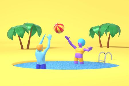 3D rendering cartoon characters guy and an African girl with blue, purple skin play a volleyball ball on a background of palm trees. Minimal concept vacation sea beach. Bright color illustration.