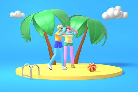 3D rendering cartoon characters a guy with a beard and a hipster girl with blue, pink skin play looking into the distance through binoculars on a background of palm trees and clouds. Minimal concept vacation sea beach.