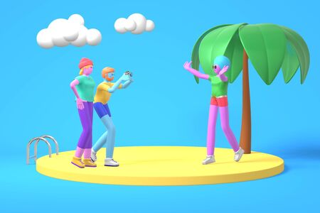 3D rendering cartoon characters a guy and two girls with blue, pink, purple skin photographs on the background of palm trees and the sea. Minimal sea beach concept. Bright color illustration.