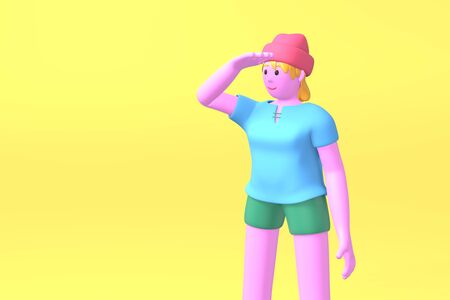 3D rendering cartoon character young hipster girl in a red hat and blue t-shirt holding his hand looking into the distance on a yellow background. Minimal search concept, gather news. Bright color illustration. Stock Photo