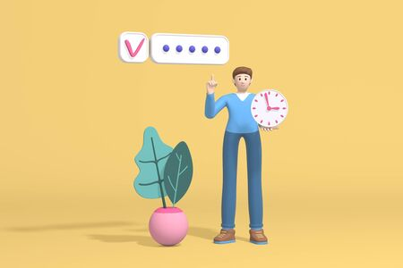 3d rendering character of a young guy, student or businessman holding a watch in his hand and successfully plans to organize work. Abstract minimal trendy cartoon disproportionate body man concept. Stock Photo