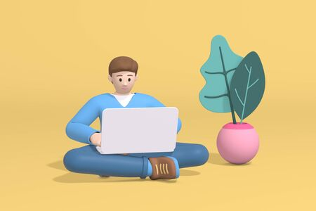 3d rendering young man guy, student, schoolboy or businessman sitting on the floor working at a laptop computer. Abstract minimal trendy cartoon disproportionate body man concept. Stock Photo