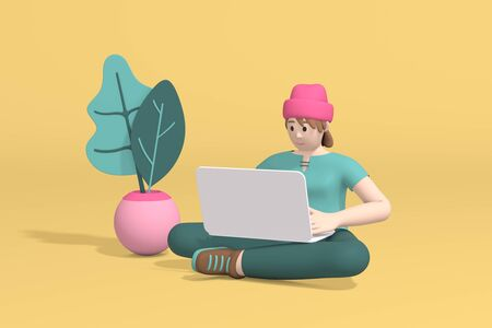 3d rendering of a young man girl, student, schoolboy or businessman sitting on the floor working on a laptop computer. Abstract minimal trendy cartoon disproportionate body man concept.