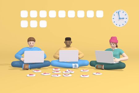 3d rendering group of three young multinational men and a hipster girl, student, schoolboy or businessman sitting working at a laptop. Abstract minimal trendy cartoon disproportionate body man concept.